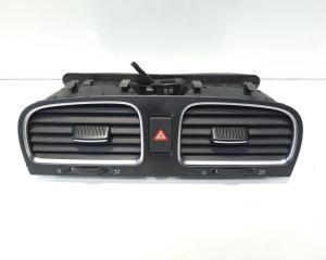 Grila aer bord centrala cu buton avarii, cod 5K0819728, VW Golf 6 (5K1) (id:479079)