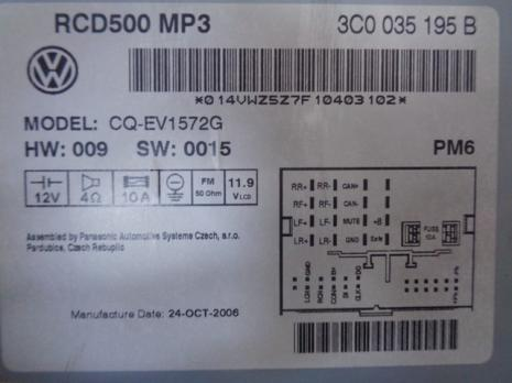 Radio cd 3C0035195B, Vw Passat (3C2) 2005-2010 (id:204152)